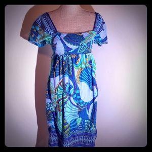 Funky People peacock design bandeau style dress